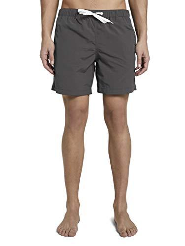 TOM TAILOR Herren Badehose Badeshort mit Eingriffstaschen Rot Blau Schwarz Orange Grau S M L XL XXL 100% Polyamid, Größe:3XL, Farbe:Tarmac Grey (10889)