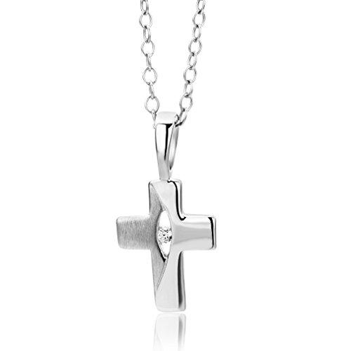 Miore Kette - Halskette Kinder Mädchen Silberfarbig 925 Sterling Silber Kette mit Kreuz