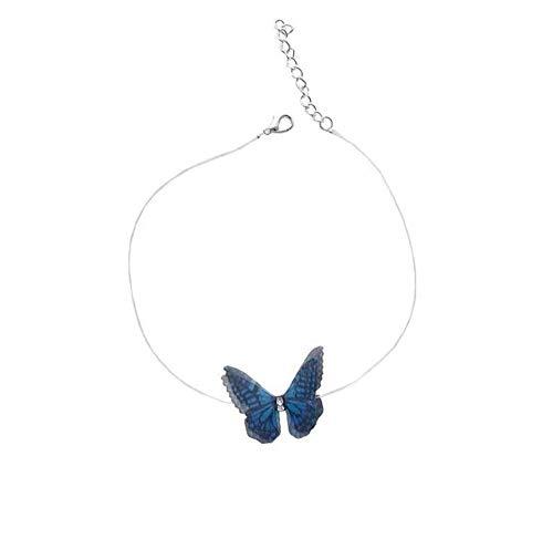 QAZQAZ - Collar con colgante de mariposa para mujer, diseño de mariposas, color blanco