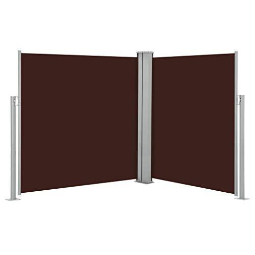 Tidyard Toldo Lateral retráctil Paravientos de Playa marrón 170x600 cm