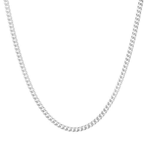 Authentic Solid Sterling Silver Cuban Curb Link .925 ITProLux Necklace Chains 2MM - 10.5MM, 16  - 30 , Curb Link Chain Necklace, Men & Women, Made In Italy, Next Level Jewelry (2MM-20)