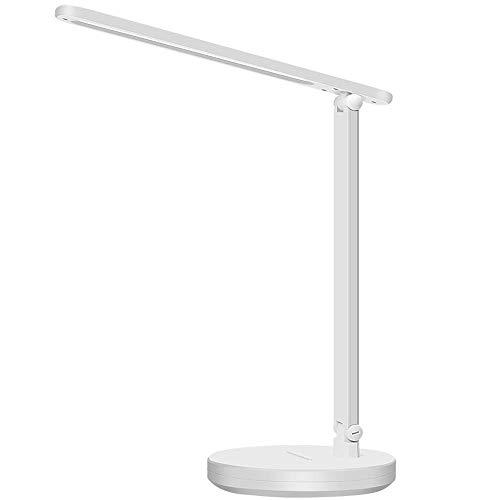 Kitlit LED Schreibtischlampe Dimmbar Augenschutz Leselampe Touch-Control Tischleuchte 3 Faren Stufenlos Helligkeit Tageslicht Faltbar Tischlampe Nachttischlampe Buchlampe Büro Arbeitsleuchte Weiß