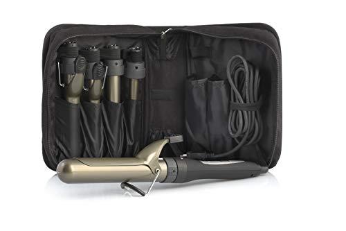 Upgrade - Kit Comby Ferri Arricciacapelli 5 in 1 in Titanio con Pinza - Curling Iron Professionale Ferro per Capelli Ricci - 2 Ferri Conici e 3 Ferri Cilindrici Intercambiabili