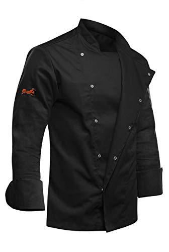 strongAnt - Giacca Cuoco Uomo Manica Lunga, Giacche da Chef PIZZAIOLO, Ristorante, ristorazione Pizzeria - Uniforme Made in EU - Nero XL