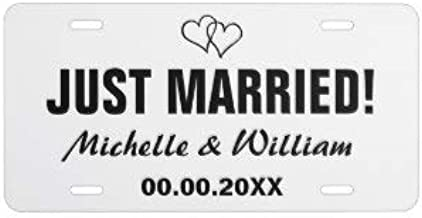 Yohoba Just Married License Plate for Wedding Car
