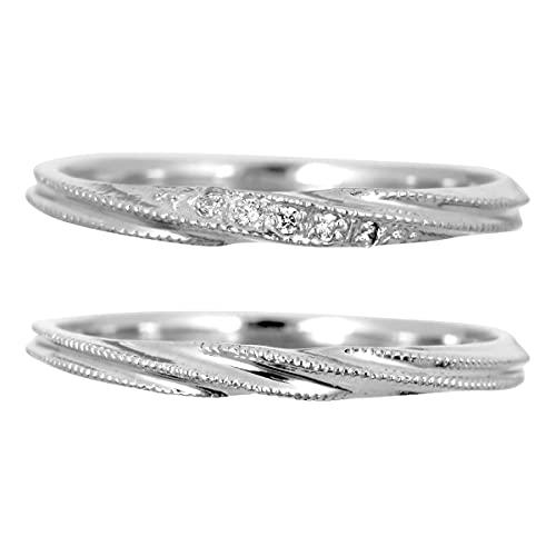 [ココカル]cococaru ペアリング 結婚指輪 k18 ホワイトゴールド ダイヤモンド 2本セット 天然ダイヤ 品質保証書 金属アレルギー 日本製(レディースサイズ3号 メンズサイズ17号)