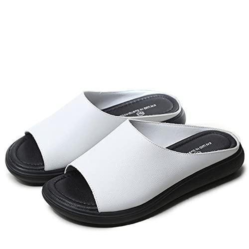 Kirin-1 Chanclas NiñA Baratas,Zapatillas De Estar En Casa Hombre Divertidas,CuñA con Zapatos Madre Inferior Suave, Pastel De Pino, Antideslizante, Zapatillas De Cuero-41_Blanco