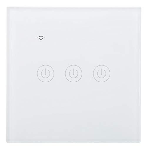 DS-101-3 Interruptor WiFi inteligente, ABS + PC Wifi Interruptor inalámbrico de control remoto, Interruptor táctil inteligente WiFi de 3 vías 200-240VAC, con 100000 veces de vida útil, para el hogar