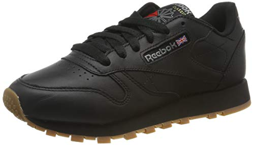 Reebok Damen Classic Leather Sneaker, Schwarz (Black/Gum), 40.5 EU