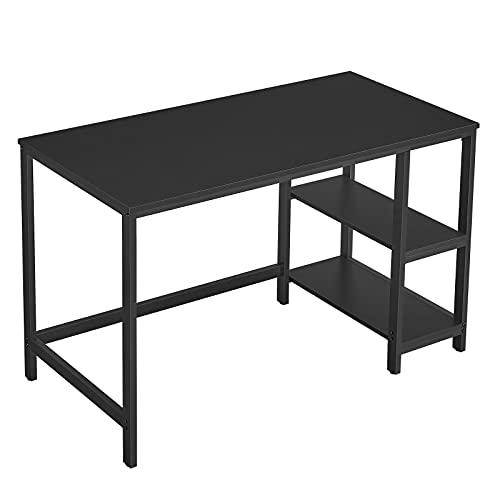VASAGLE Schreibtisch, Computertisch, PC-Tisch, Bürotisch, mit 2 Ablagen auf der rechten oder linken Seite, fürs Büro, Wohnzimmer, Stahlgestell, Industrie-Design, schwarz LWD047B16