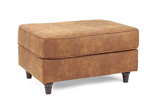 Honeypot - Sofa - Oakland - Faux Leather - 3 Seater - 2 Seater - Chair - Tan Suede - Cushions Included (Footstool, Tan)