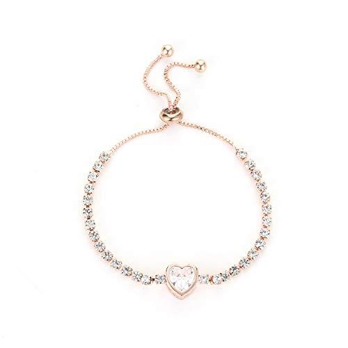 Pulseras Brazalete Moda Rosa Oro Color Plata Lujo Grande Circonita Brazalete Pulsera De Diamantes De Imitación Mujeres Niñas Regalo S1001-R