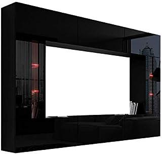 HomeDirectLTD Future 28 Moderne Wohnwand, Exklusive Mediamöbel, TV-Schrank, Schrankwand, TV-Element Anbauwand, Neue Garnitur, Große Farbauswahl (RGB LED-Beleuchtung Verfügbar) (28_HG_B_1, Möbel)