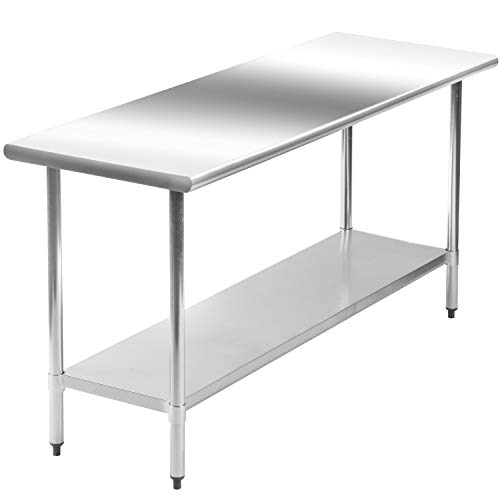 Kitchen Work Table Scratch Resistent and Antirust Metal Stainless Steel Work Table with Adjustable Table Foot Scratch Resistent (24Wx60L)