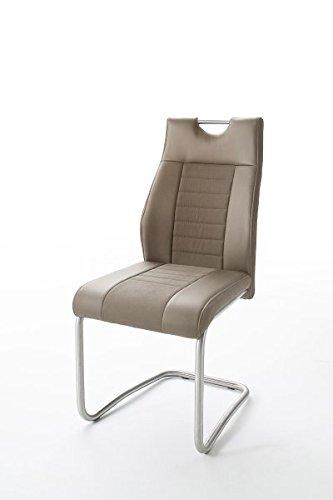 2 Stühle Tito, Schwinger, Schwingstuhl, Freischwinger, cappuccino