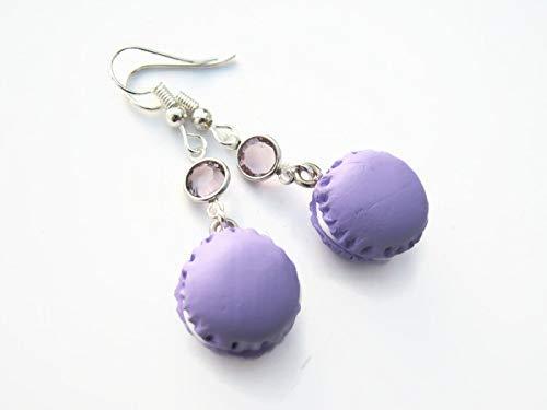 Purple Macaron Earrings ~ Polymer Clay