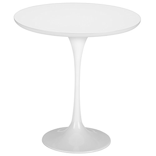 "Poly and Bark Daisy 20"" Wood Top Side Table in White Base"