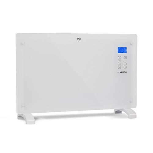 Klarstein Norderney Konvektions-Heizgerät Konvektionsheizung Glaskonvektor Elektroheizer, 15-35°C, intelligentes Thermostat, Touch, LCD-Display, Eco-Modus,Temperatursensor, 1.000/2.000 Watt, weiß