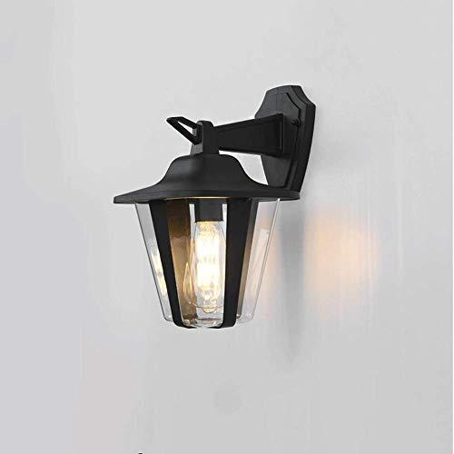Lámpara de pared al aire libre moderna Luces de jardín a prueba de agua luces de pared externas con atardecer a la fotocélula de amanecer y la sombra de cristal transparente para la entrada, el porche
