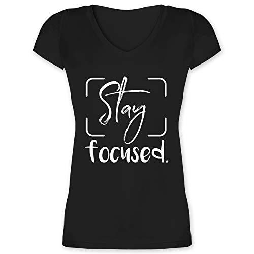 Fotografen - Stay Focused - L - Schwarz - fotograf Shirt Damen - XO1525 - Damen T-Shirt mit V-Ausschnitt