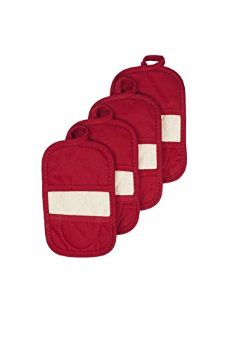 Ritz Royale Collection 100% Cotton Terry Cloth Ritz Mitz, Dual-Function Pot Holder / Oven Mitt Set, 4-Pack, Paprika Red