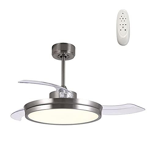 Wonderlamp - Ventilador techo de Luz LED con aspas plegables Brando 48W, Silencioso, 3 temperaturas color, 6 velocidades, Níquel