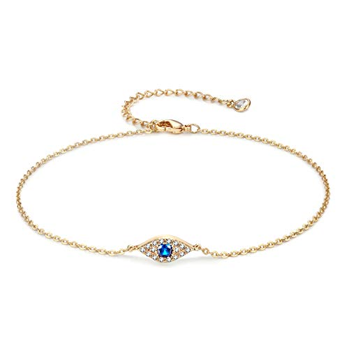 Evil Eye Anklet For Women, Dainty Ankle Bracelet, 14K Gold Plated Tiny Bead Anklet Dainty White Cubic Zirconia Tassel Foot Chain Lucky Multi Colored Evil Eye Foot Jewelry Boho Anklets for Women (Evil)