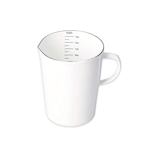 HARLIANGXY Emaille Messbecher Retro Emaille Behälter Messbecher Milchbecher Wasserbecher Weiß 1L