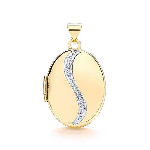 Genuine in oro giallo 9carati con ciondolo portafoto a forma ovale con diamante 29mm