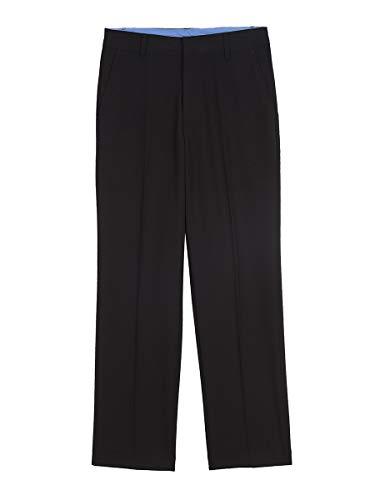 IZOD Boys' Big Bi-Stretch Flat Front Dress Pant, Black, 14