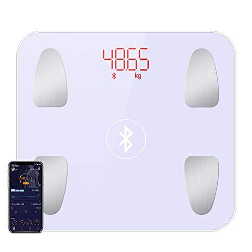 CFFDDE Digitale personenweegschaal, lichaamsvet, led-display, zeer nauwkeurige sensor, kan meerdere gebruikers toevoegen, intelligente app voor gewicht en vet Battery wit