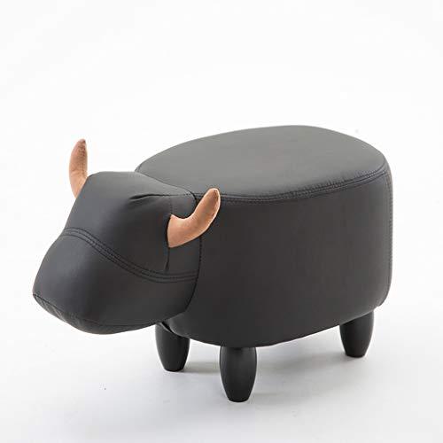 VFGDF Sofá Taburete Moda Creativa de Madera Maciza en Forma de Pantorrilla Zapatos Especiales for niños Taburete de Cuero Taburete (Color : Black Cow)