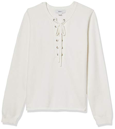 Forever 21 Women's Grommet Lace-Up Sweater, Ivory, 2X