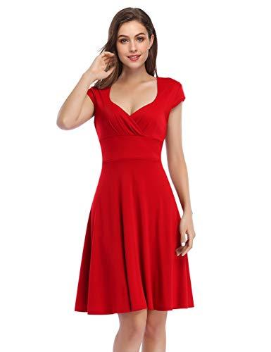 KOJOOIN Damen Vintage Retro Cocktailkleid Rockabilly V-Ausschnitt Kleid Knielang Kurzarm Abendkleid Rot(Neuer Stoff) XXL