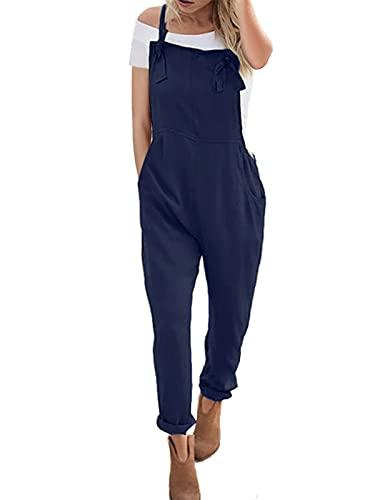 ACHIOOWA Latzhose Damen Jumpsuit mit Träger Retro Overalls Sommer Lose Hose Lange Baggy Sommerhose Blau L