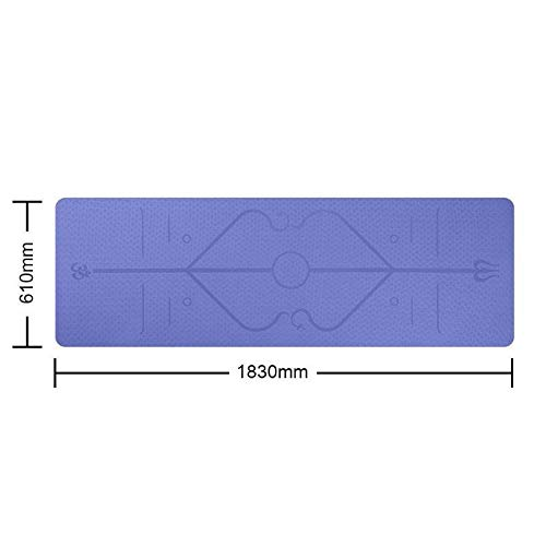 ZALE - Esterilla de yoga útil, antideslizante con línea de posicionamiento, esterilla de yoga Yogatoes, TPE, portátil, multicolor, para principiantes, tamaño Azul