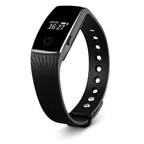 MEDION E1000 Fitnessarmband, OLED Display, Schrittzähler, Kalorienverbrauchsmesser, Schlafüberwachung, Spritzwassergeschützt, schwarz