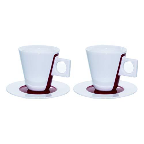 Nescafé Dolce Gusto Espresso Tasse, 2er Set / 4-tlg., Porzellan, Weiß mit Pink, Kaffeetasse, 50 ml