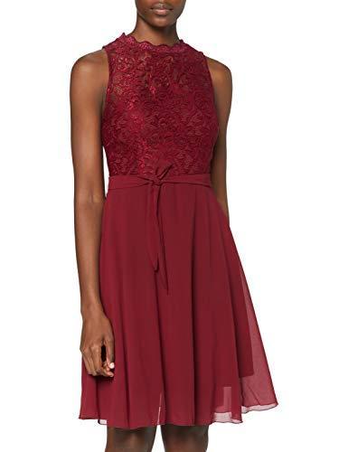 Intimuse Damen ärmelloses Cocktail Kleid mit Spitzendetails, Rot (Bordeaux 046), 36 (XS/36)