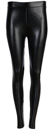 FASHION YOU WANT Damen Leggings/Jeggings Gr.34 bis 44 mit Spitze Nieten Steinchen Stern Totenkopf Perlen Leder High Waist Netz Spitzenleggings (Lederoptik schwarz, 38/40)