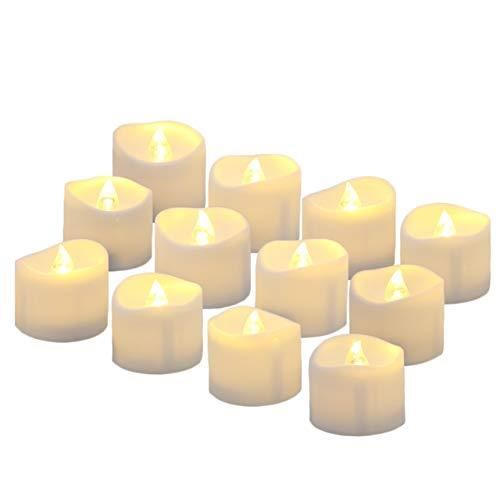 HOUSON LED Kerzen, 12 LED Warmweiß Flammenlose Kerzen Weihnachten LED Teelichter, Elektrische Teelichter Kerzen für Halloween, Weihnachten, Party, Bar, Hochzeit(Flicker Gelb)