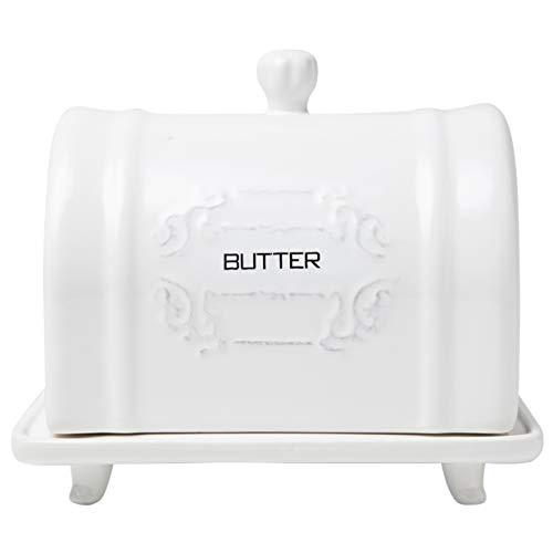 Keramik-Butterdose mit Deckel, französisches Design, Vintage-Keramik-Butterhalter, dekorativer Butterbehälter mit geprägtem, französischem Shabby-Chic-Design, praktisch, weißer Butterbehälter