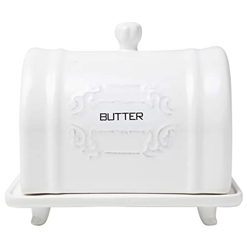 French Design Ceramic Butter Dish with Lid  Vintage Ceramic Butter Holder  Decorative Butter Keeper with Embossed French Shabby Chic Design  Convenient White Butter Container