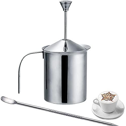 Espumador de leche de acero inoxidable, doble malla, manual, acero inoxidable, doble malla, espumador de leche manual, 400 ml