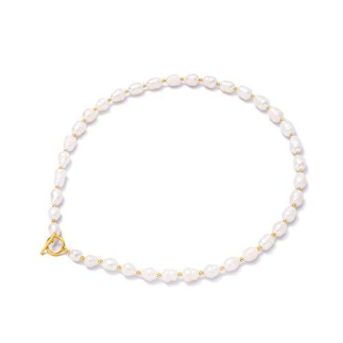 HAZITTER Collar de Colgante de con Cadena de 14K Gargantilla de Perlas Barrocas con para Mujer