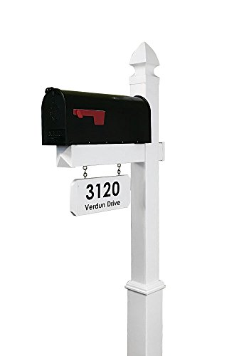 4Ever Products The Providence Vinyl Mailbox Post System - Includes Black Steel Mailbox and Custom Street Address