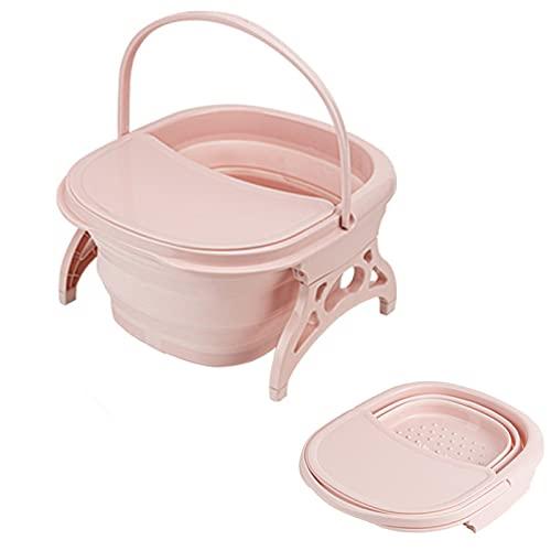 Masajeador de pies, para bañera de pies portátil, cubo plegable de plástico,para remojar pies para quitar callos-Pink