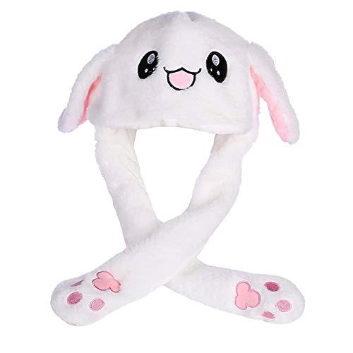 Floatdream Beweglicher Ohr-Kaninchen-Hut, Hasenohren Hut, Lustige Plüsch-Häschen-Hut-Kappe mit Den Ohren, für Rollenspiele, Geburtstagsgeschenke(Weiß)