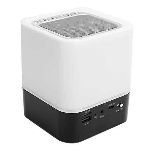 Altavoz Bluetooth con luz Nocturna, Altavoz Bluetooth inalámbrico portátil, Luz de mesita de Noche LED de 7 Colores Control táctil Inteligente Cambio de Color, Soporte Bluetooth Puerto USB de 3,5 mm