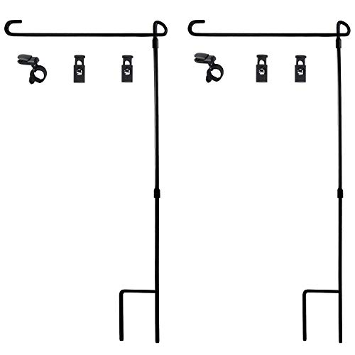 HOOSUN Garden Flag Stand, Premium Garden Flag Pole Holder Metal Wrought Iron Powder-Coated Weather-Proof Paint (2 Pack) with Tiger Clip and Spring Stoppers